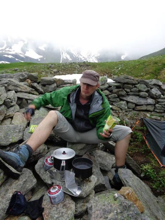 repas du soir près du Lac Blanc